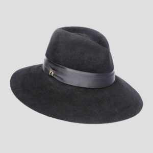 Cappello Drop ad Ala Larga in Feltro di Lapin Velour con Cinta in Raso