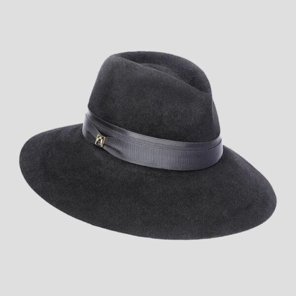 Cappello Drop ad Ala Larga in Feltro di Lapin Velour con Cinta in Raso