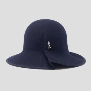 Cappello a Cloche Arrotolabile in Feltro di Lana e Profilo Grosgrain