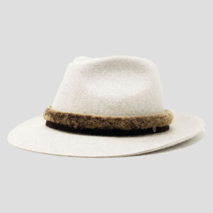 Cappello Drop in Feltro di Lapin Melange con Cinta in Pelle di Montone