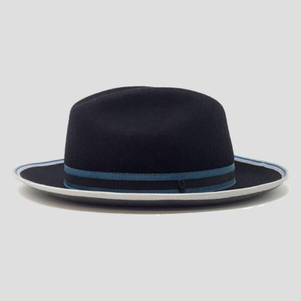 Cappello Fedora in Feltro di Lapin Double Face con Cinta Elastica