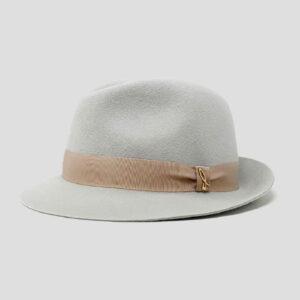 Cappello Trilby in Feltro di Lapin Velour con Cinta in Grosgrain