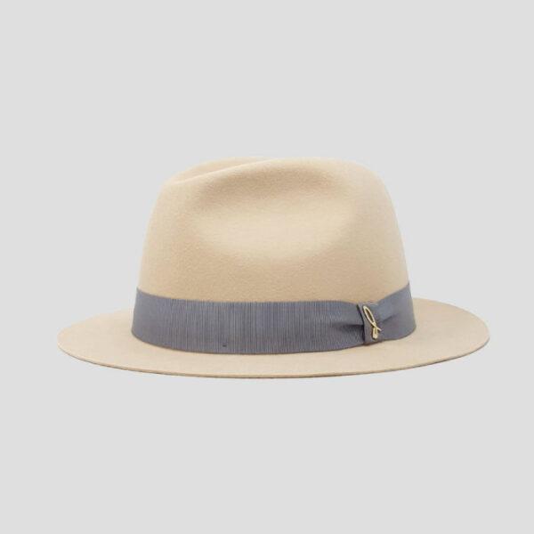 Cappello Fedora in Feltro di Lapin con Cinta in Grosgrain