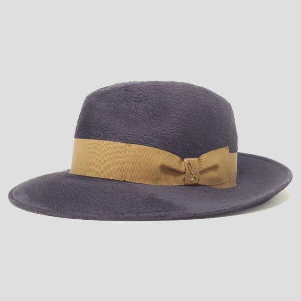 Cappello Fedora ad Ala Larga in Feltro di Lapin e Cinta Grosgrain