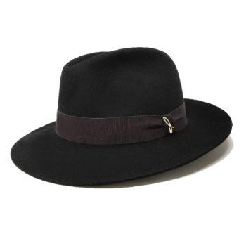 Cappello Roberto nero con cinta grosgrain negroamaro