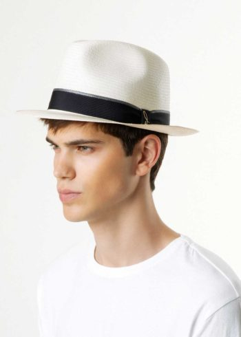 Palermo Panama Hat White Blue for Man