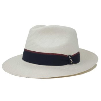 Portofino Panama Hat White and Negroamaro