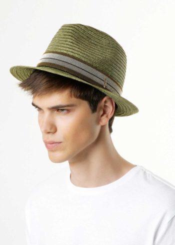 Rinaldo Hemp Braid Fedora Hat Green for Man
