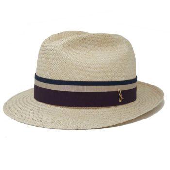 Sam Fedora Panama Hat Natural Chianti Doria 1905