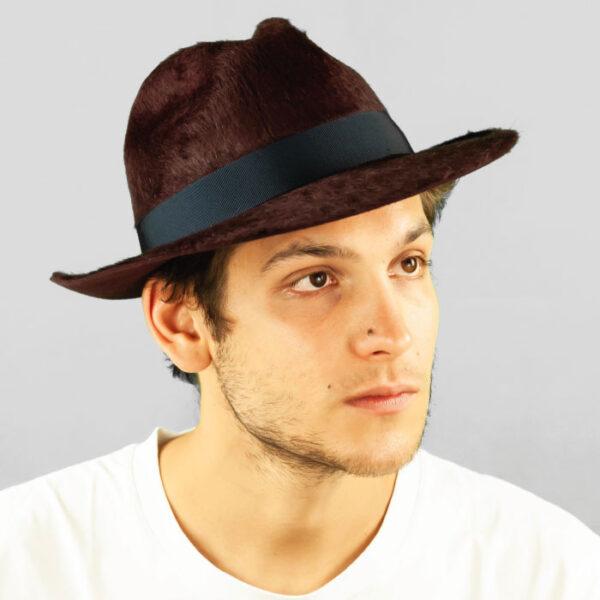 Cappello Fedora ad Ala Media in Feltro di Lapin e Cinta