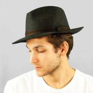 Cappello Drop ad Ala Media in Feltro di Lapin Melange con Cinta di Pelle