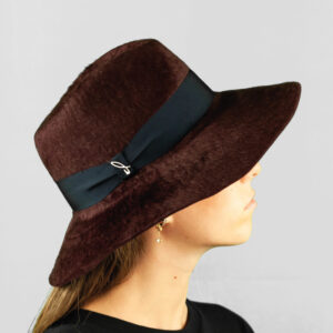 Cappello Drop ad Ala Larga in Feltro di Lapin Melousine e Cinta Gros grain