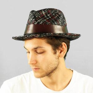 Cappello Drop in Tessuto Fantasia Principe di Galles Blu, Rosso e Bianco