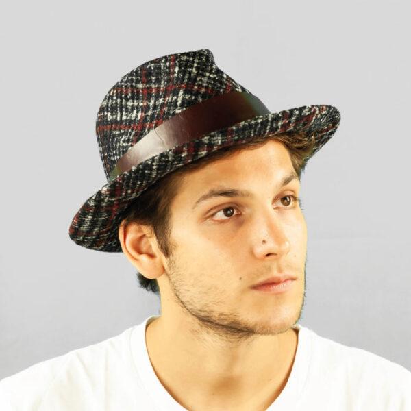 Cappello Drop Classico in Tessuto a Fantasia Principe di Galles e Cinta di Cuoio