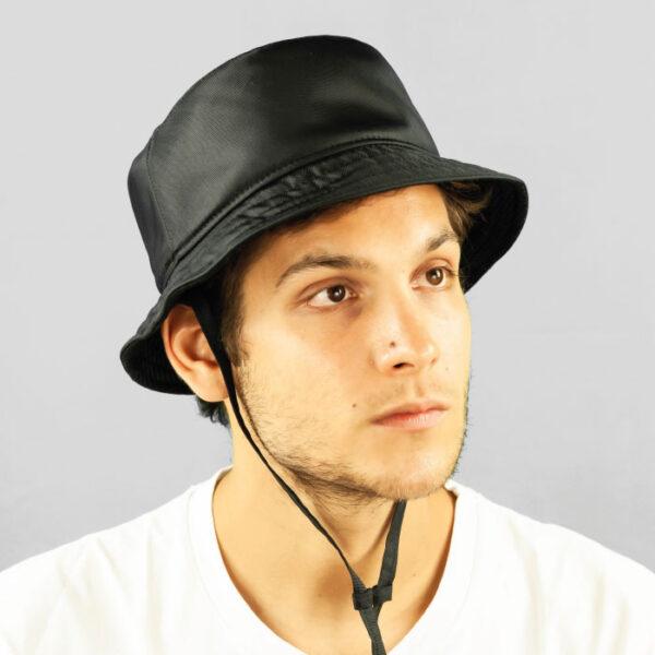 Cappello Bucket in Tessuto Impermeabile e Sottoala in Rete tecnica con Laccio