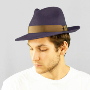 Cappello Drop in Feltro di Lapin Velour e Cinta di Gros Grain