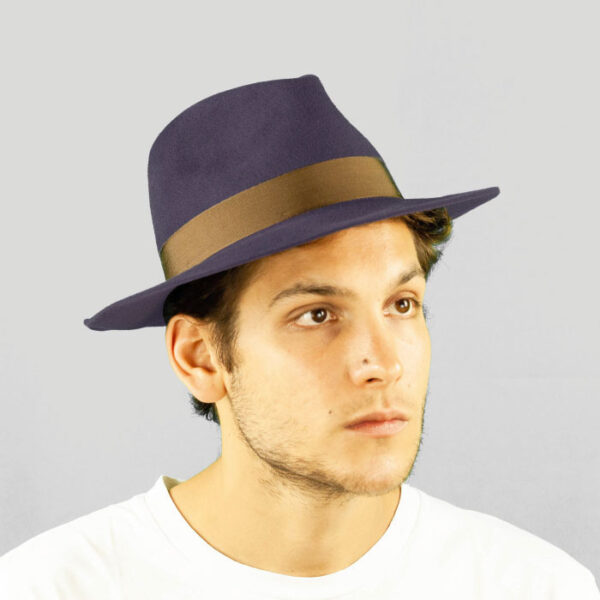 Cappello Drop in Feltro di Lapin Finitura Velour con Cinta in Gros Grain