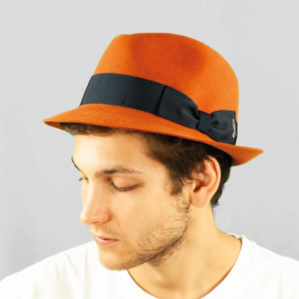 Cappello Trilby in Feltro di Lapin con Cinta in Gros Grain e Fiocco Doria