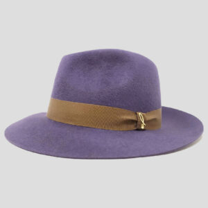 Cappello Drop ad Ala Media in Feltro di Lapin Velour e Cinta in Gros Grain