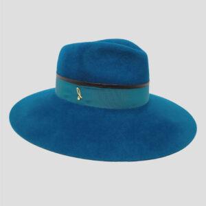 Cappello Drop in Feltro con Cinta in Gros Grain e Profilo in Pelle Modello Droplette