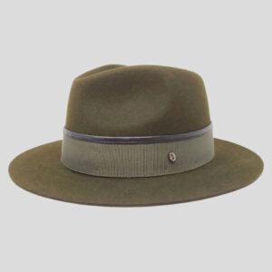 Cappello Fedora in Feltro con Cinta Gros Grain e Profilo in Pelle Modello Ike