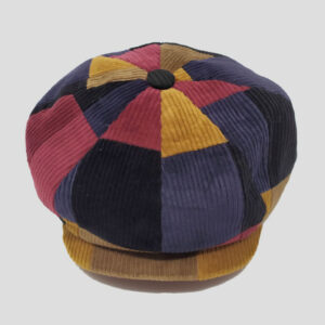 Berretto Newsboy Cap in Patchwork di Velluto Multicolor