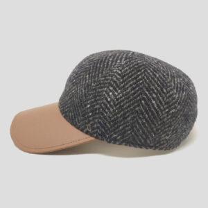 Berretto da Baseball Sfoderato in Tessuto Tweed con Visiera di Pelle Grigio