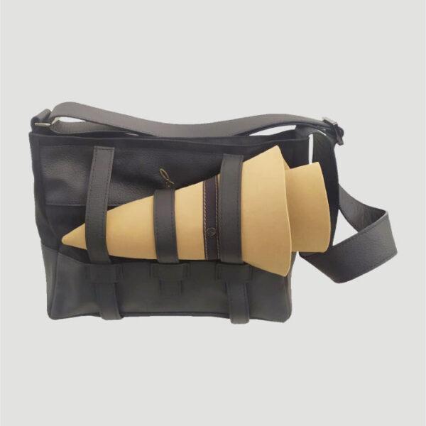 Borsa Mini Shopper a Tracolla Porta Cappello in Tessuto e Dettagli in Pelle