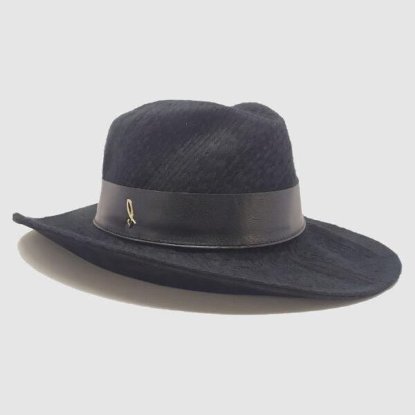 Cappello Drop ad Ala Larga in Tessuto Effetto Tricot con Cinta in Pelle