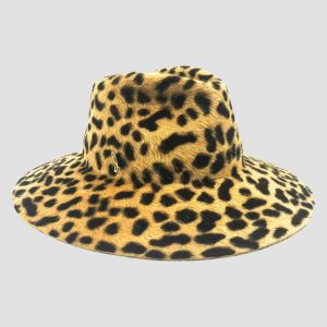 Cappello Drop ad Ala Larga in Feltro Melousine con Fantasia Animalier