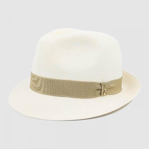 Cappello Trilby in Feltro di Lapin Finitura Velour con Cinta in Gros Grain
