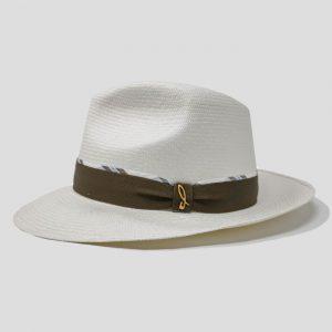 Cappello Panama Fine Bianco Modello Drop con Cinta Gros Grain