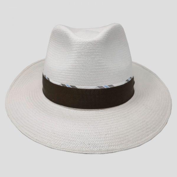 Cappello Panama Bianco Cinta Marrone