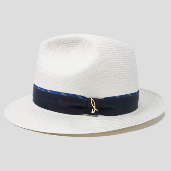 Cappello Panama Fine Bianco Modello Fedora con Cinta Gros Grain