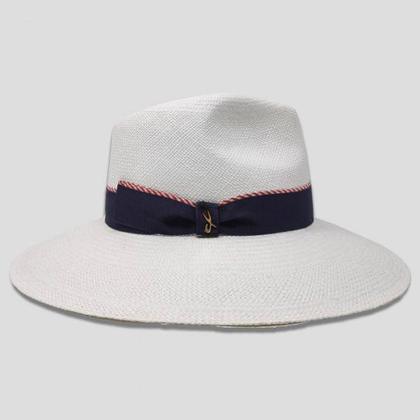 Cappello Panama ad Ala Larga Modello Drop con Cinta Gros Grain e Seta