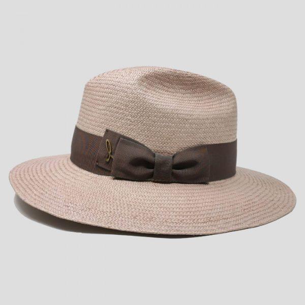 Cappello Panama ad Ala Larga Modello Fedora con Cinta Gros grain
