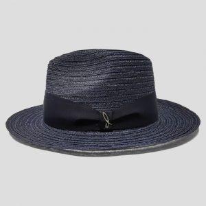 Cappello in Intreccio di Canapa Modello Drop con Cinta Gros Grain