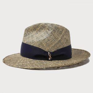 Cappello in Paglia di Mare Seagrass Modello Drop con Cinta Gros Grain