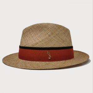 Cappello in Paglia di Baku Modello Drop con Cinta Gros Grain