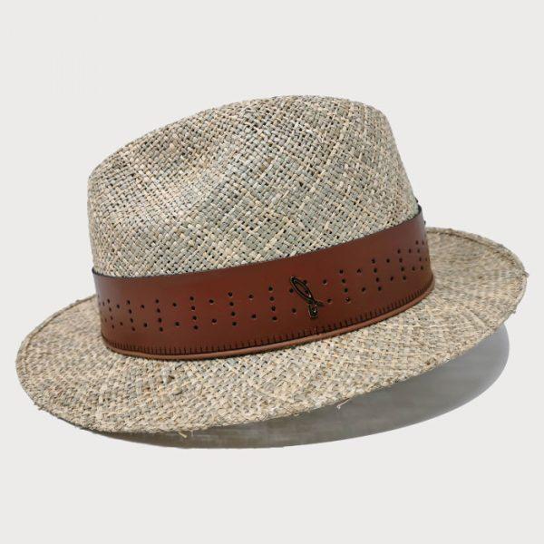Cappello in Paglia di Mare Seagrass Modello Fedora con Cinta di Cuoio