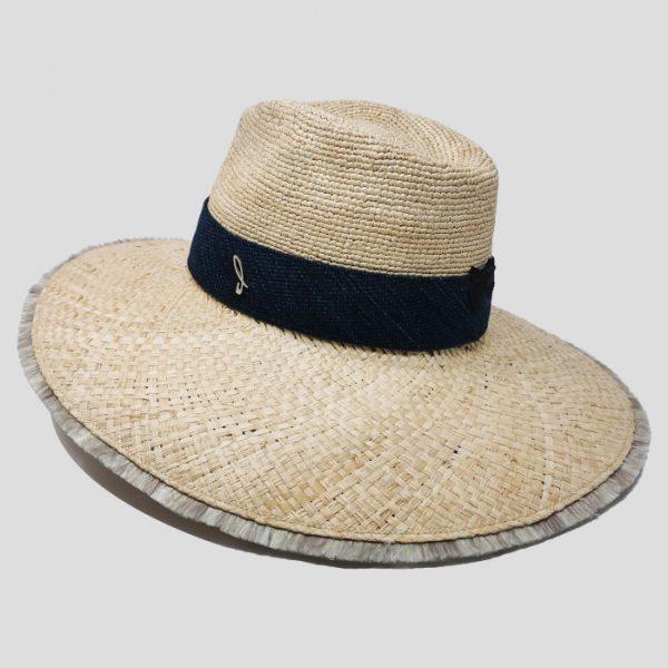 Cappello in Raffia a Ala Larga Modello Drop con Cinta Denim e Fascia Obi