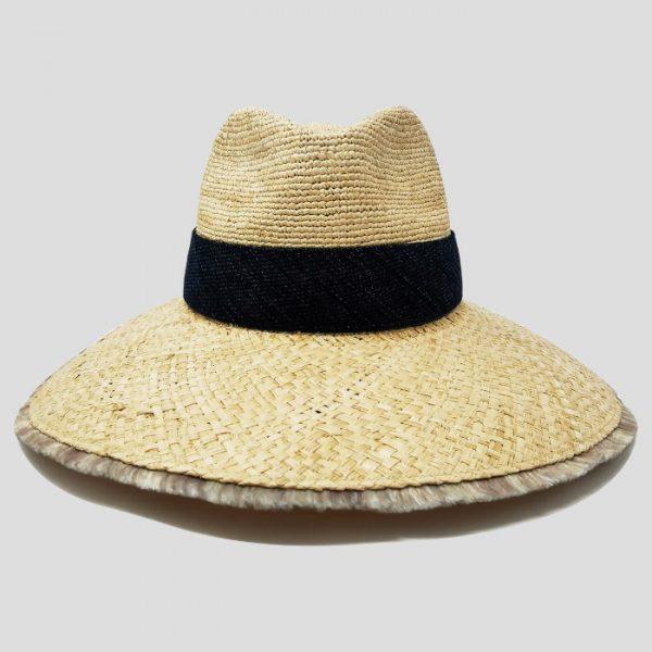 Cappello di raffia naturale cinta denim