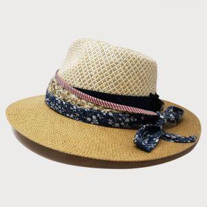 Cappello in Intreccio Papier Bicolore con Cinta Denim e Fascia Obi