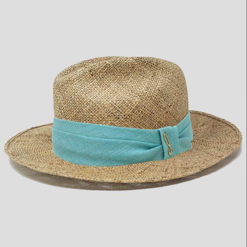 Cappello Fedora in Paglia di Mare Seagrass con Cinta in Lino