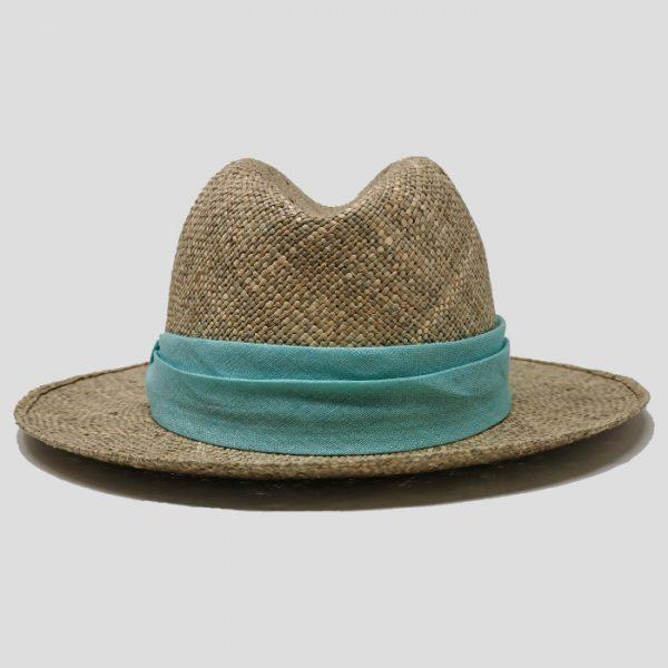 Cappello di paglia con cinta azzurra