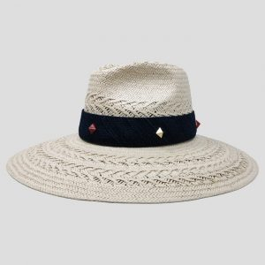 Cappello Drop ad Ala Larga in Papier Naturale con Cinta Denim e Borchie