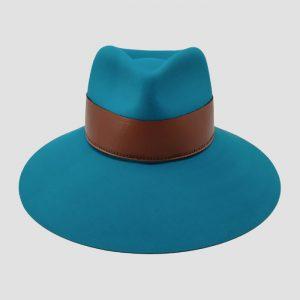 Cappello Drop Azzurro Feltro Cinta Cuoio Modello Cora