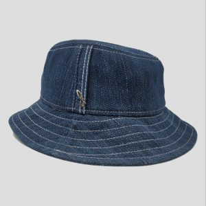 Cappello Bucket Sfoderato in Tessuto Denim con Impunture