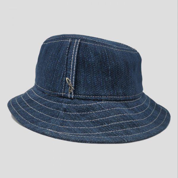 Cappello Bucket Sfoderato in Tessuto Denim con Impunture