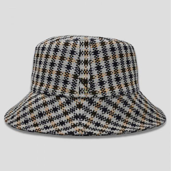 Cappello Bucket Foderato in Tessuto con Lavorazione a Trama Tweed